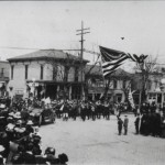 Liberty Day Parade in Delphos on April 6, 1918 at the corner of Main and Third Streets.
