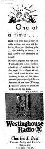 1930 Westinghouse Radio Ad
