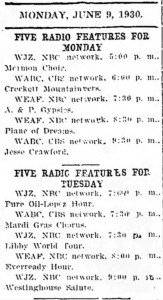 1930 Program Listings in Delphos Herald